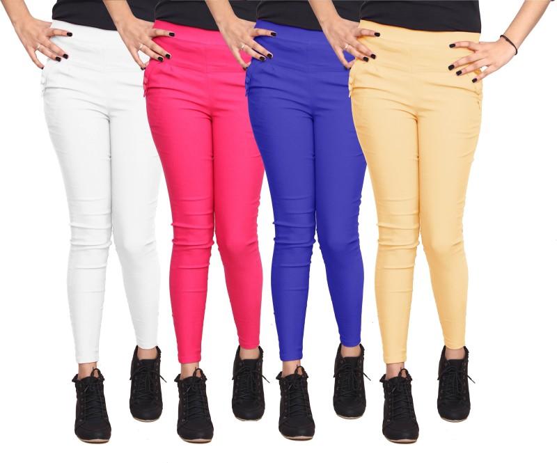 Xarans Women's White, Pink, Blue, Beige Jeggings(Pack of 4)