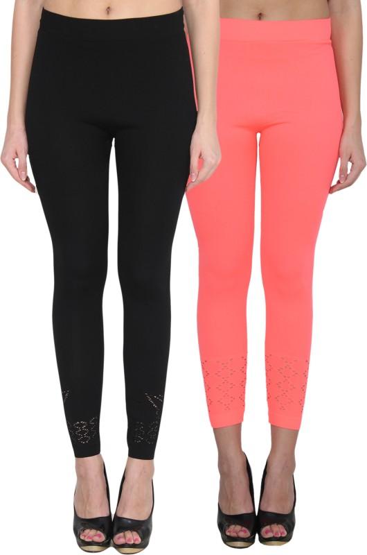 NumBrave Women's Black, Pink Leggings(Pack of 2)