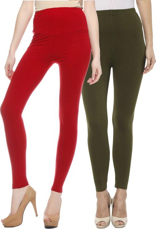 Sakhi Sang Women's Red, Green Leggings(Pack of 2)