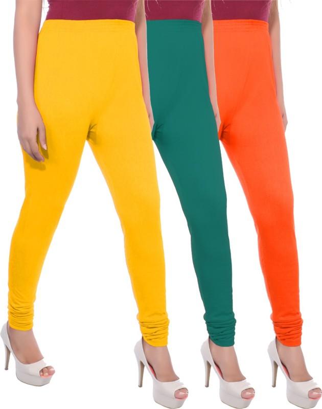 Apple Knitt Wear Women's Maternity Wear Yellow, Green, Orange Leggings(Pack of 3)