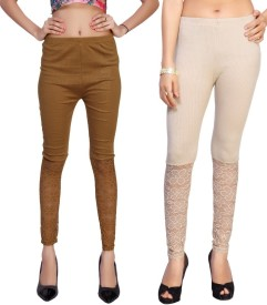Comix Women's Beige, Brown, White Leggings(Pack of 2)