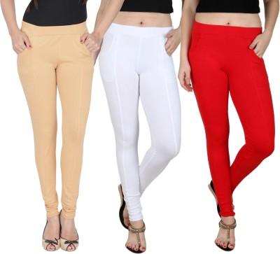 Baremoda Women's Beige, White, Red Jeggings