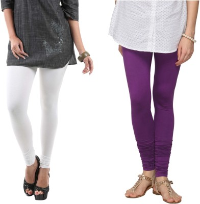 Fashionjackpot Women's White, Purple Leggings