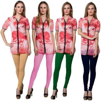 Both11 Women's Beige, Pink, Green, Dark Blue Leggings