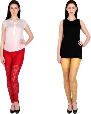 Simrit Women's Red, Beige Leggings