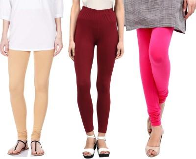 Sampoorna Collection Women's Beige, Maroon, Pink Leggings