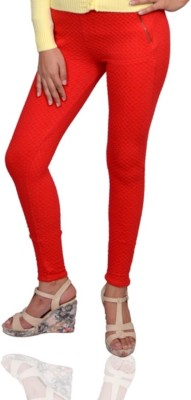 Vama Women's Red Jeggings