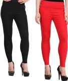 Magrace Women's Black, Red Jeggings (Pac...