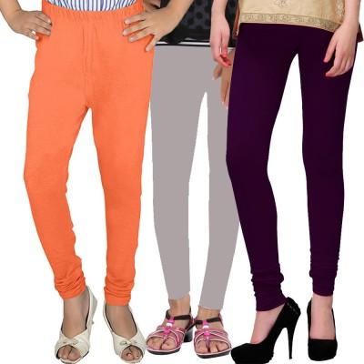 WellFitLook Girl's Orange, Grey, Purple Leggings