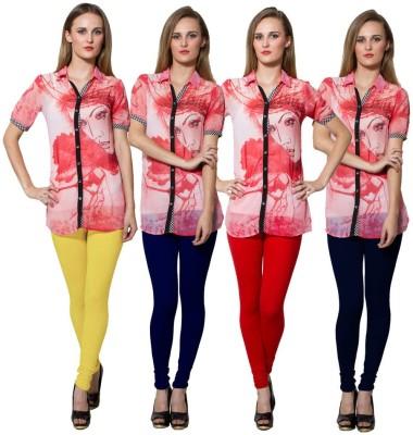 Both11 Women's Yellow, Blue, Red, Dark Blue Leggings