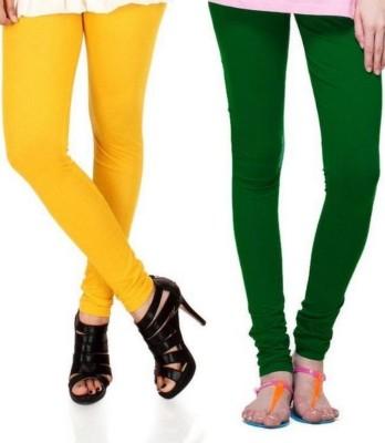 Zadine Women's Orange, Dark Green Leggings