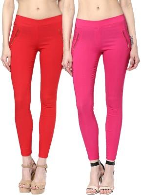Zea-Al Women's Red, Pink Jeggings