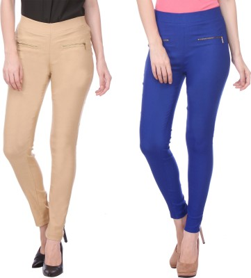 Flying Duck Women's Beige, Blue Jeggings