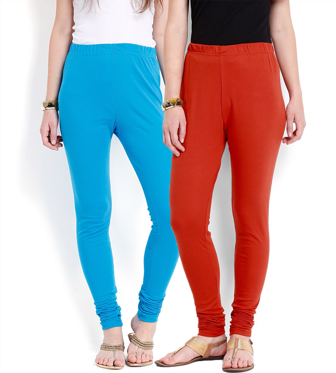 Ten on Ten Womens Blue, Red Leggings(Pack of 2)
