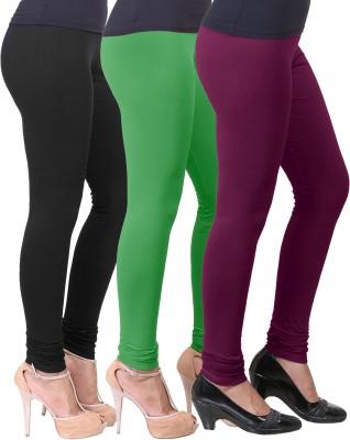Eshelle Women's Black, Light Green, Purple Leggings