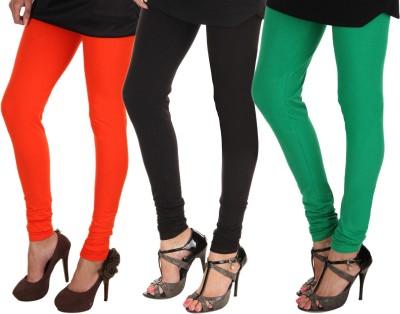 Itnol International Women's Orange, Black, Green Leggings