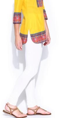 Cotton Lycra Women's White Leggings