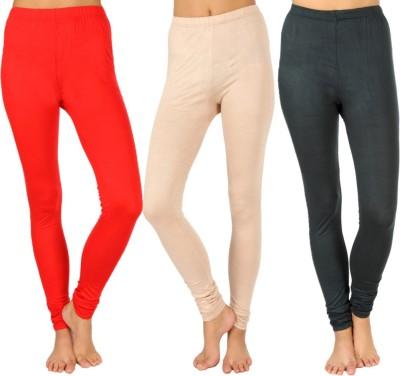 SLS Women's Red, Beige, Dark Green Leggings