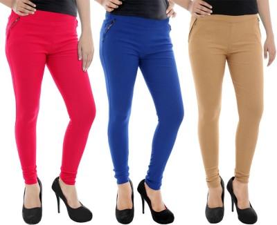 Paulzi Women's Pink, Blue, Beige Jeggings