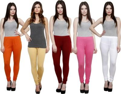 Pistaa Women's Orange, Beige, Maroon, Pink, White Leggings