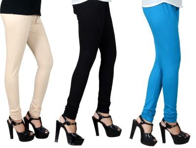 JSA Women's Beige, Black, Light Blue Leggings