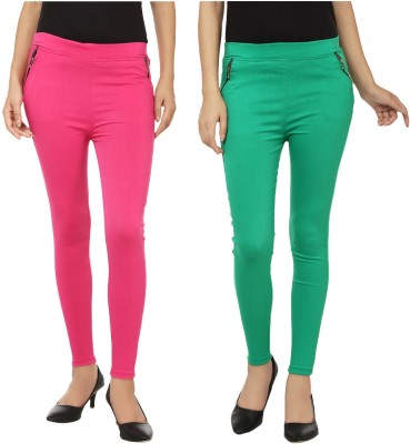 Lambency Women's Pink, Green Jeggings
