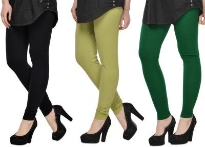 SareeGalaxy Women's Black, Light Green, Green Leggings