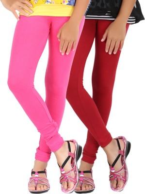 Be Style Girls Maroon, Pink Leggings(Pack of 2)