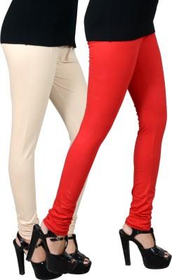 JSA Women's Red, Beige Leggings