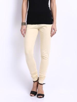 Cotton Lycra Women's Beige Leggings