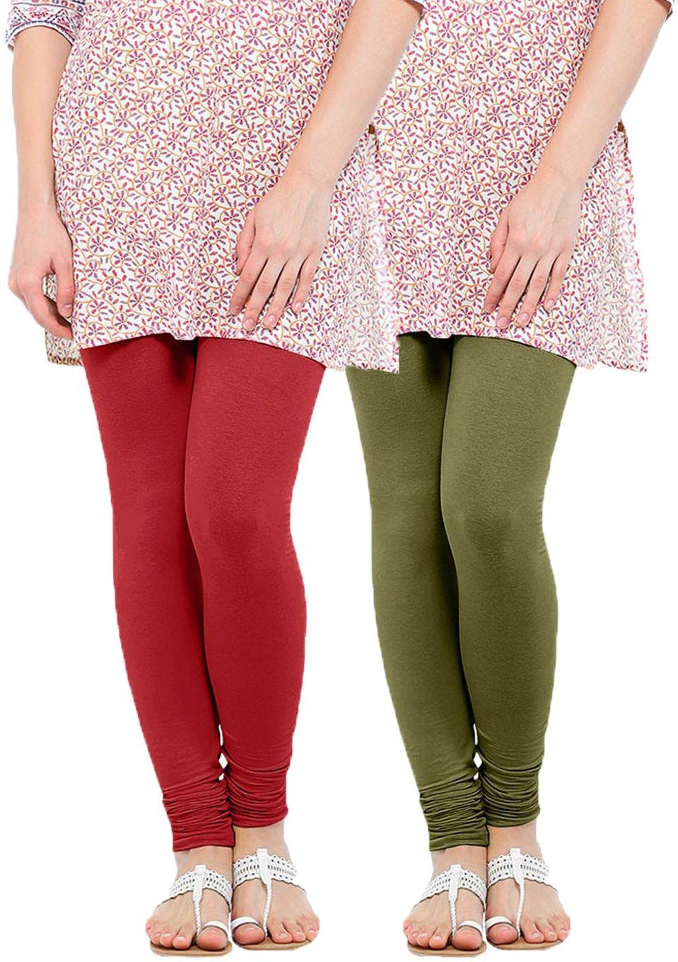 Linking Threads Womens Red, Light Green Leggings(Pack of 2)