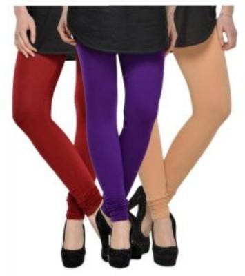 JUST CLIKK Women's Maroon, Blue, Gold Leggings