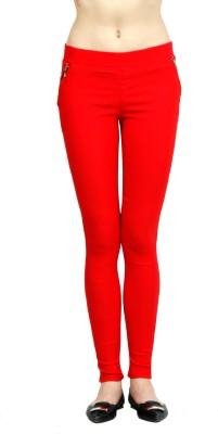 Ahhaaaa Women's Red Jeggings