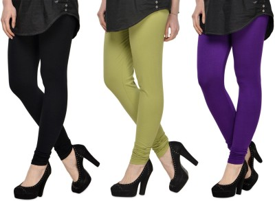 SareeGalaxy Women's Black, Light Green, Purple Leggings