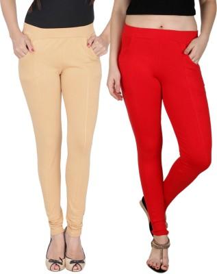 Nimya Women's Beige, Red Jeggings