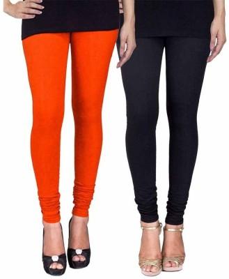 Ayesha Fashion Women's Orange, Black Leggings