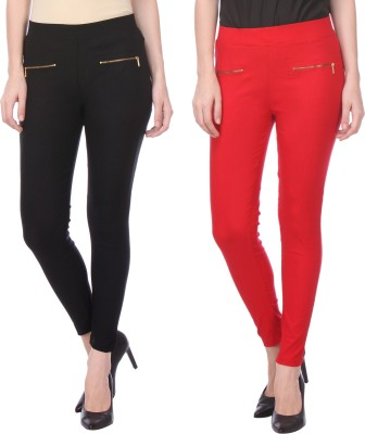 Flying Duck Women's Black, Red Jeggings