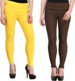Jainish Women's Yellow, Brown Jeggings (...