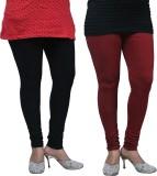 FnMe Women's Black, Maroon Leggings (Pac...