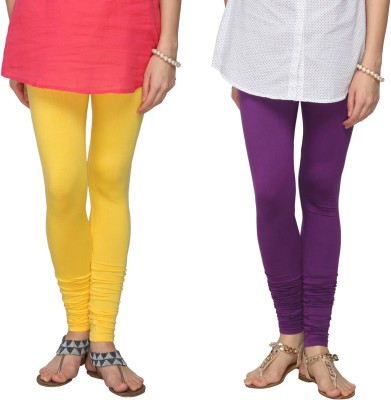 Fashionjackpot Women's Yellow, Purple Leggings