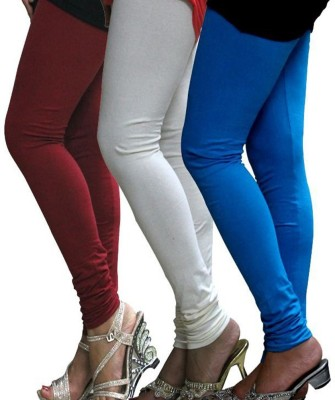 divinecreations Women's White, Orange, Blue Leggings
