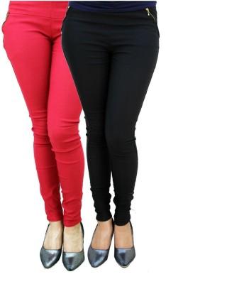 Pushpanjali Fashion Hub Women's Multicolor Jeggings(Pack of 2)