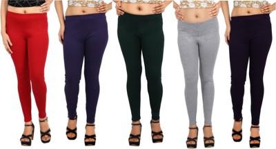Comix Women's Red, Purple, Dark Green, Grey, Purple Leggings