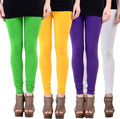 Mynte Women's Yellow, Green, Purple, White Leggings