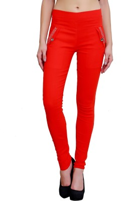 Poorvi collections Women's Red Jeggings
