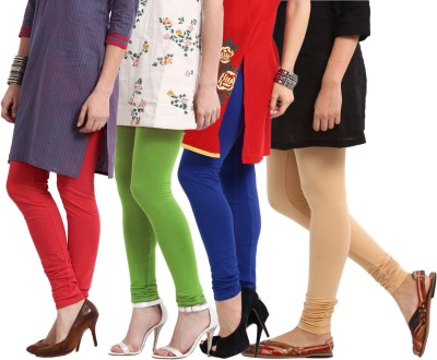 Amoya Women's Red, Blue, Light Green, Beige Leggings