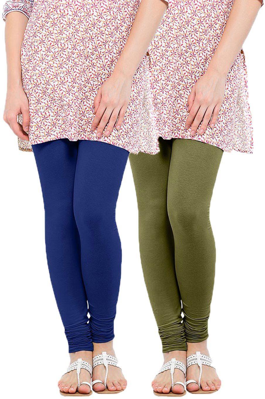 Linking Threads Womens Blue, Light Green Leggings(Pack of 2)