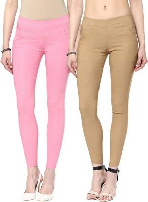 Zea-Al Women's Pink, Beige Jeggings