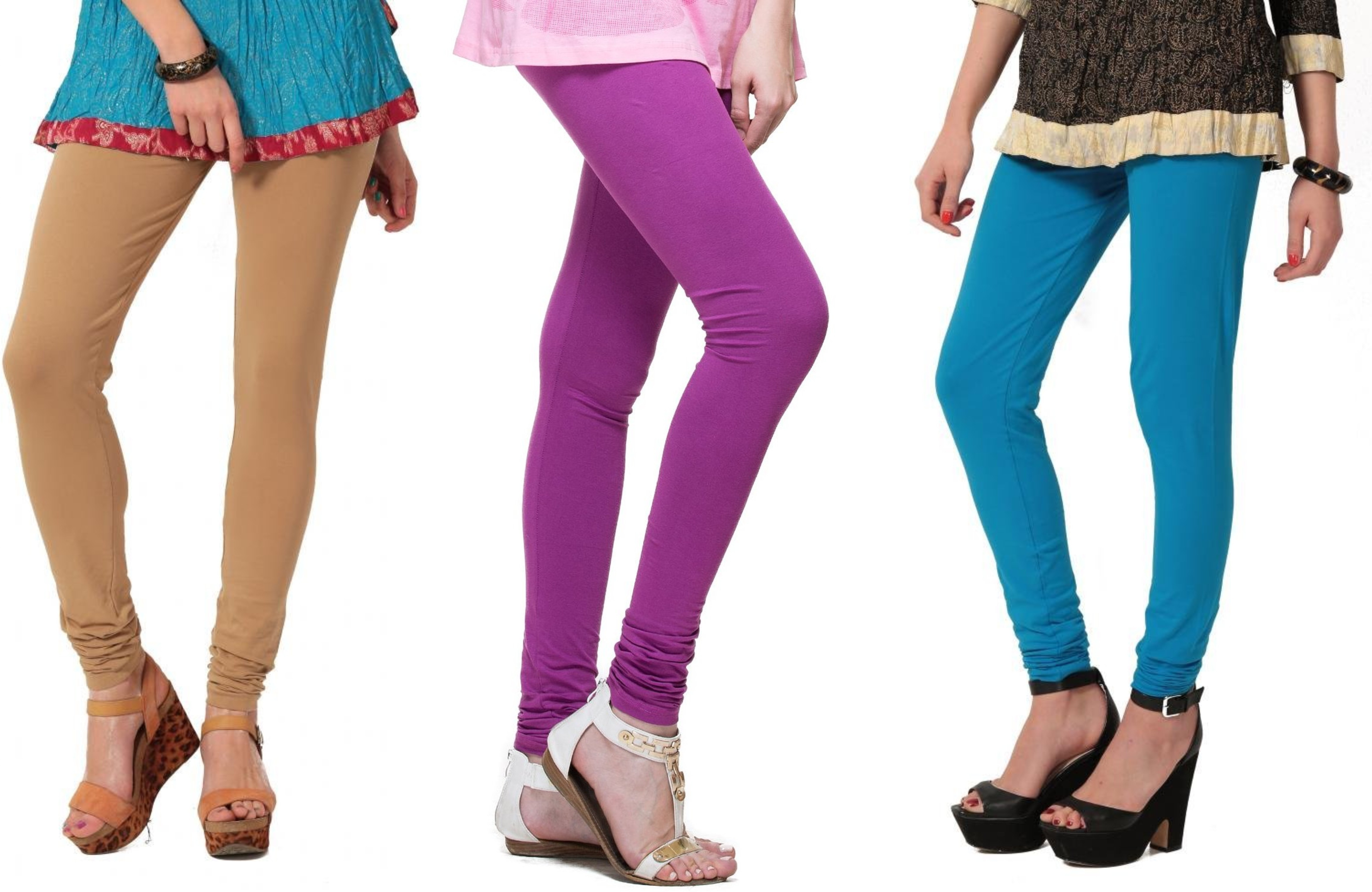 Angel Soft Womens Beige, Purple, Light Blue Leggings(Pack of 3)