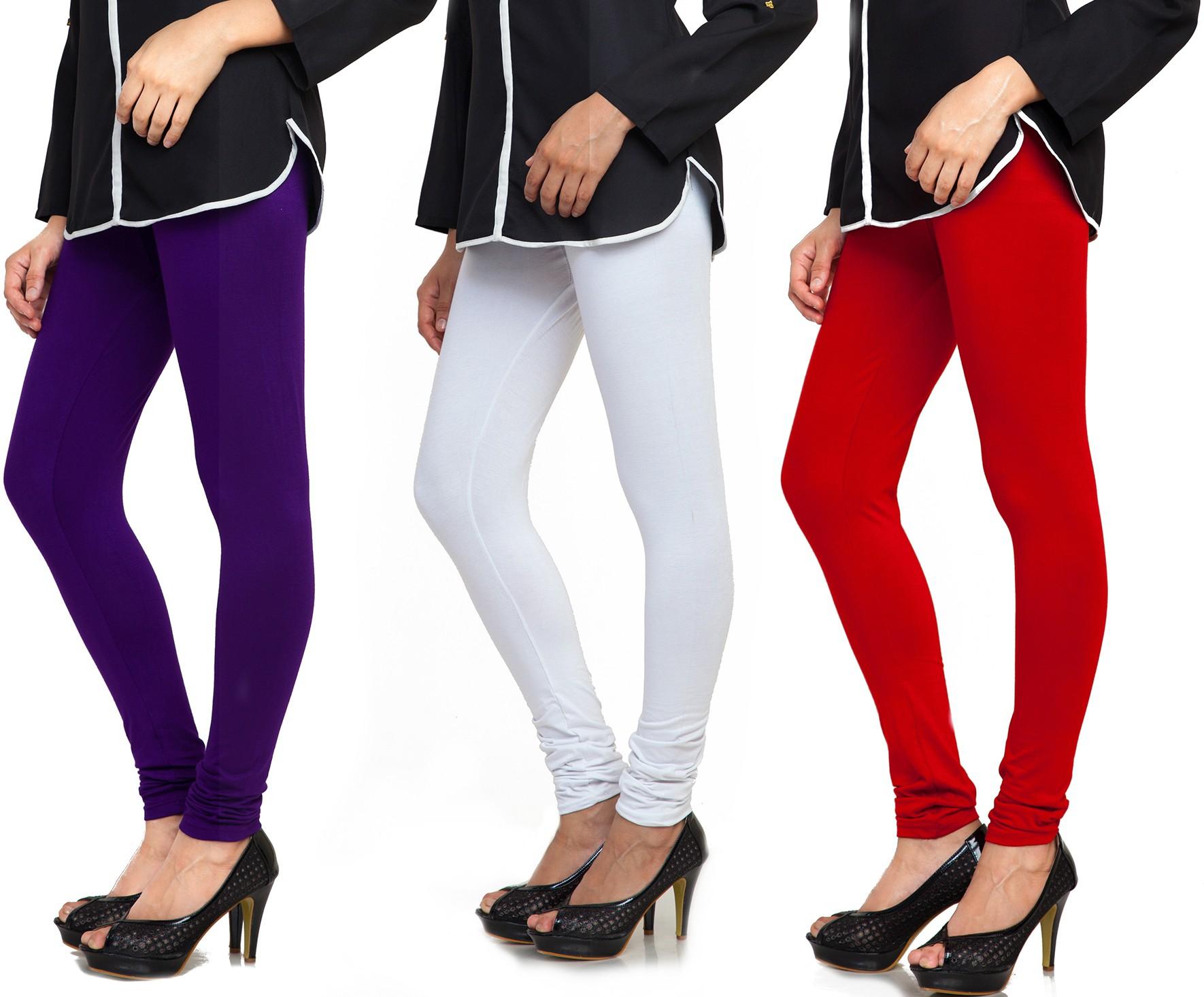 Bulbul Womens Purple, White, Maroon Leggings(Pack of 3)